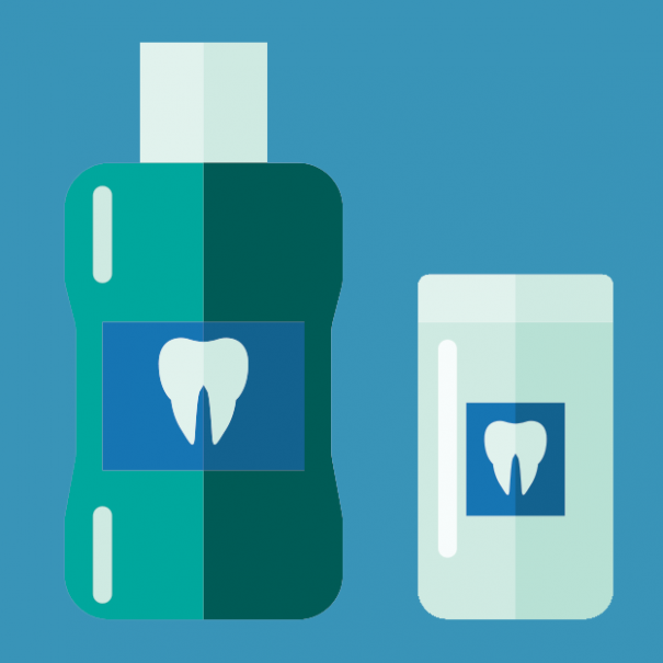 стилизирано изображение на бутилки с изобразени зъби на тях