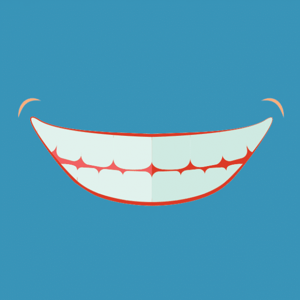 стилизирано изображение на усмивка с искрящо бели зъби